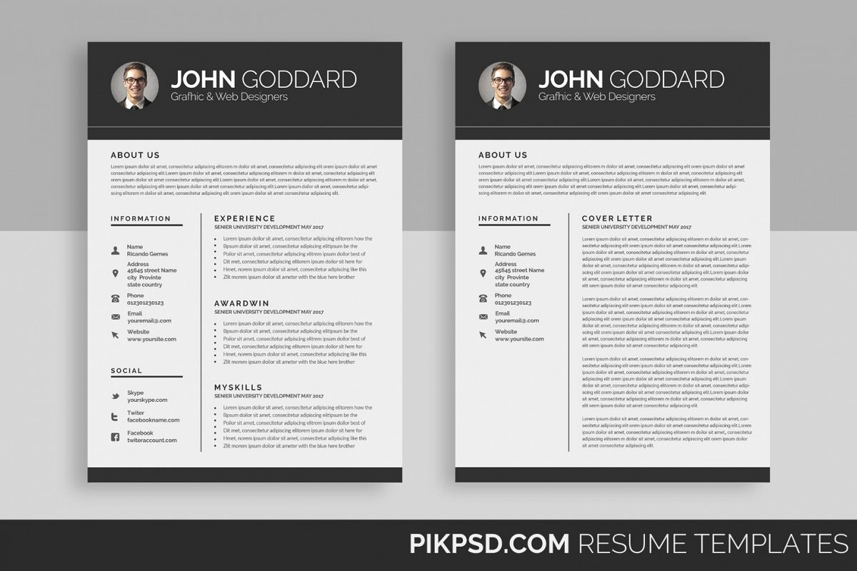 resume  cv  2 page  by business templates