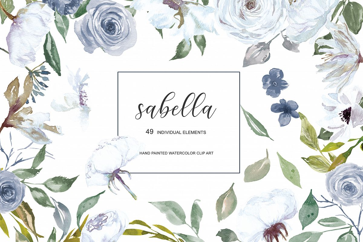 Watercolor White And French Blue Rose Clipart Separate Elements Hand Painted Flowers Roses Clip Art
