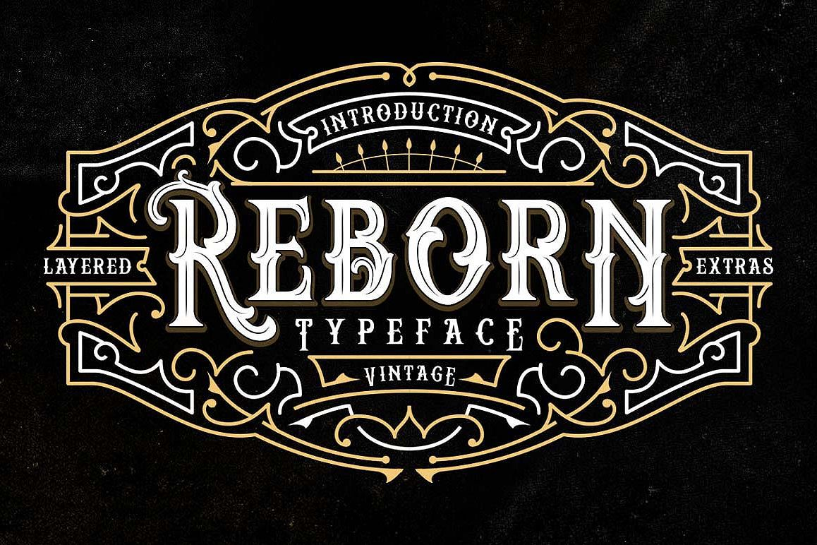 Reborn Layered Typeface + Extras example image