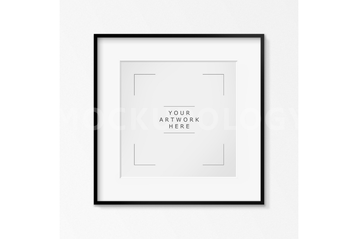 SQUARE Digital Black Frame Mockup, White Wallpaper Background, Styled Photography Poster Mockup, Framed Artwork Mockup, INSTANT DOWNLOAD example image