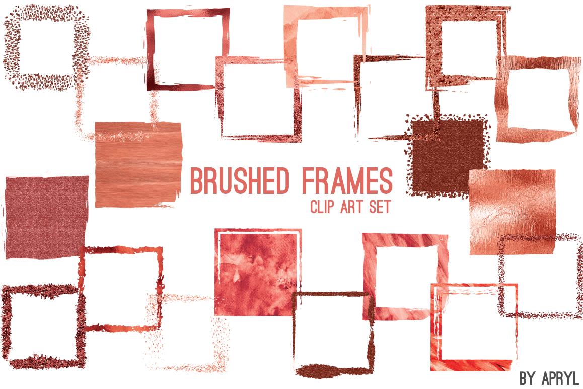 Red Coral Brush Stroke Square Frames by | Design Bundles