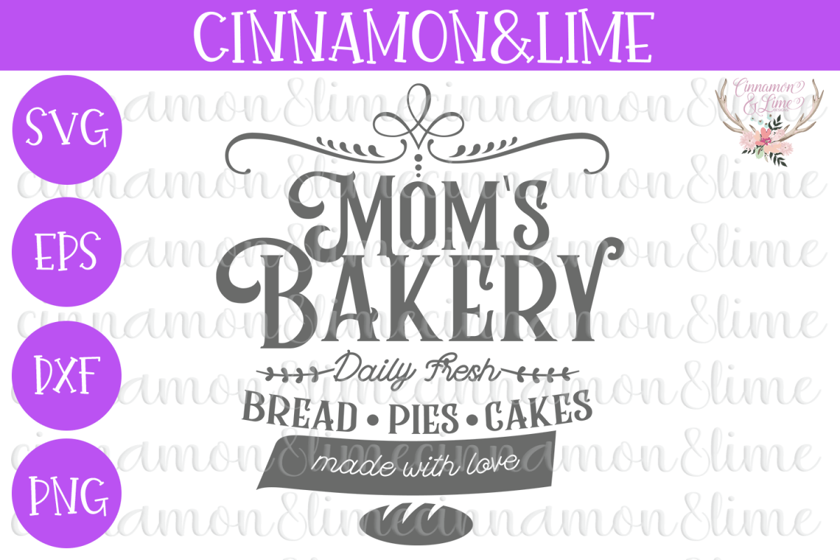 Mom's Bakery Vintage Sign SVG example image
