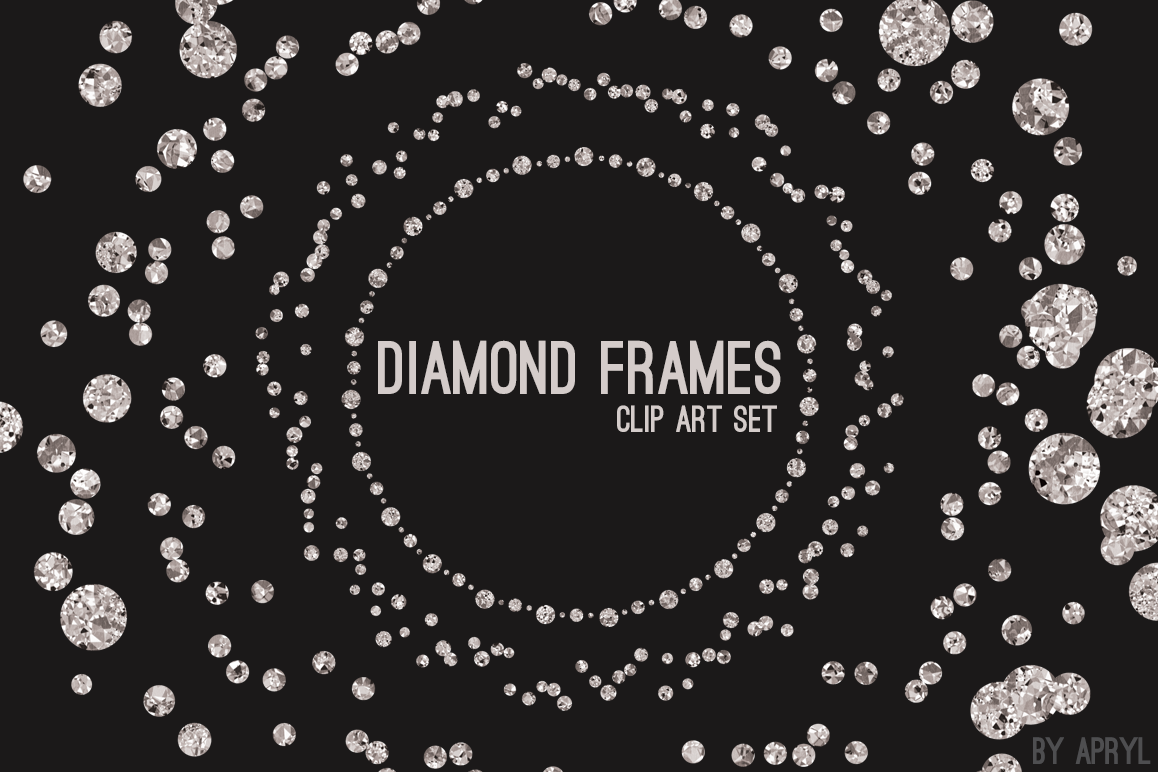 Diamond Frames Round Jewels by Graphics | Design Bundles