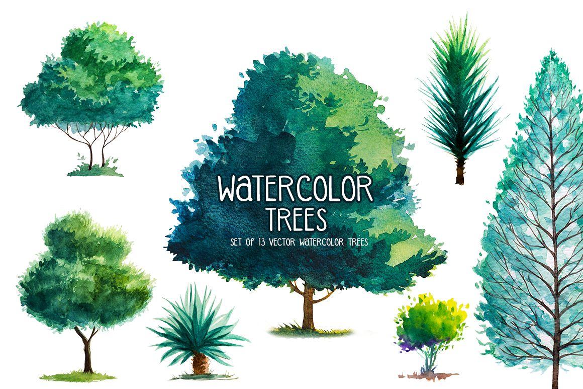Watercolor Trees by AlexGreenArt | Design Bundles