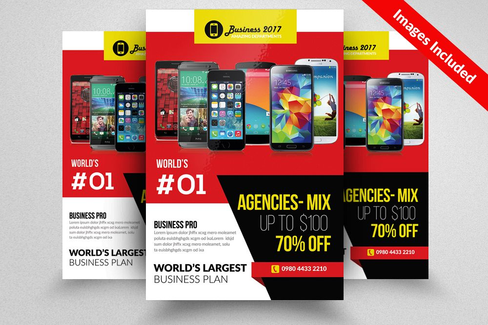 Mobile Apps Company Flyer Templates By Design Bundles