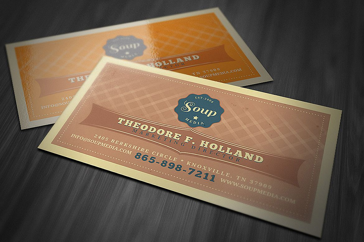 Retro business card template by cruzine design bundles retro business card template example image wajeb
