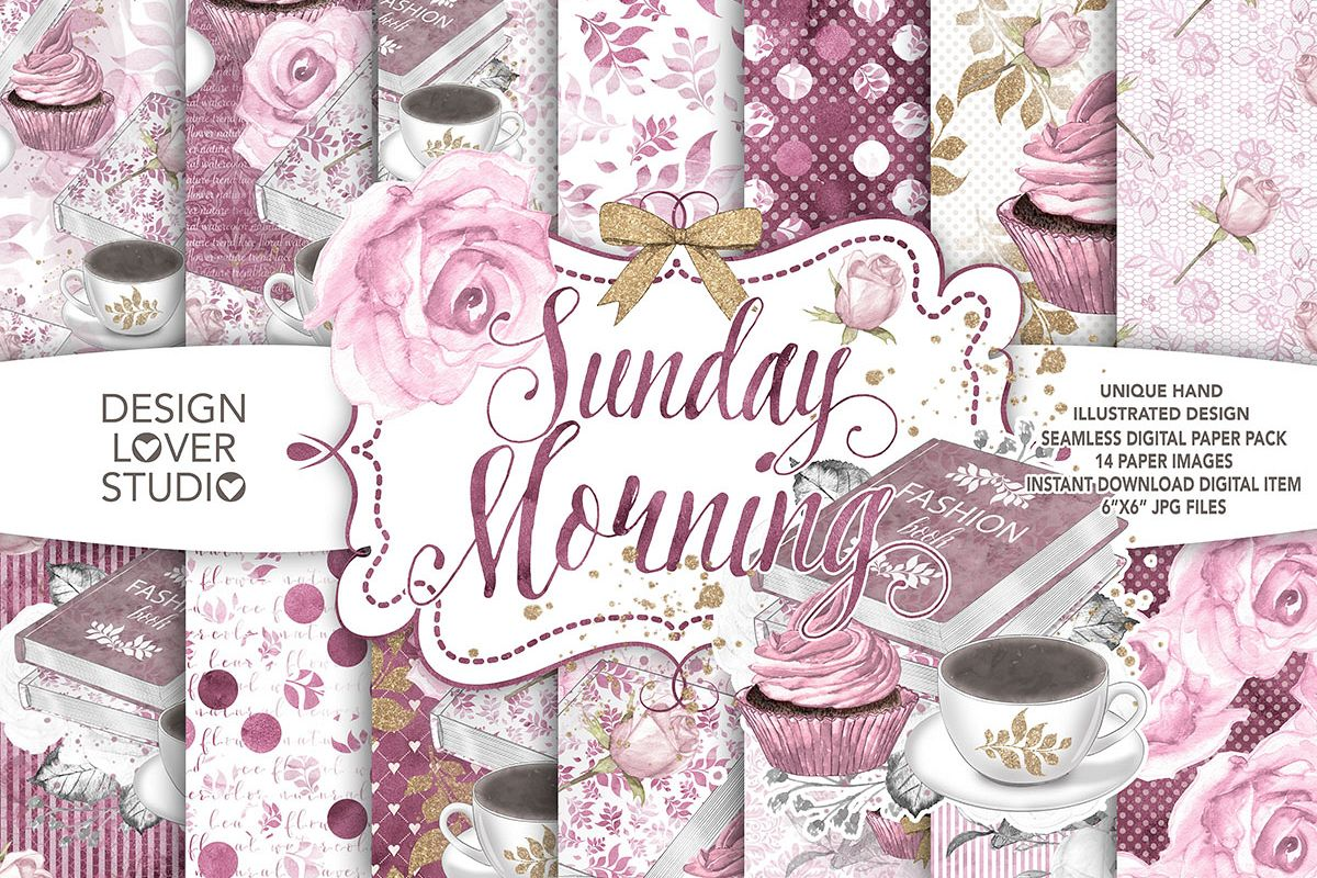 Watercolor Sunday Morning digital paper pack example image