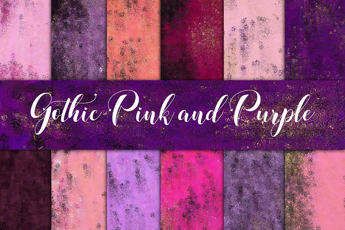 gothic pink purple foils digital paper example image