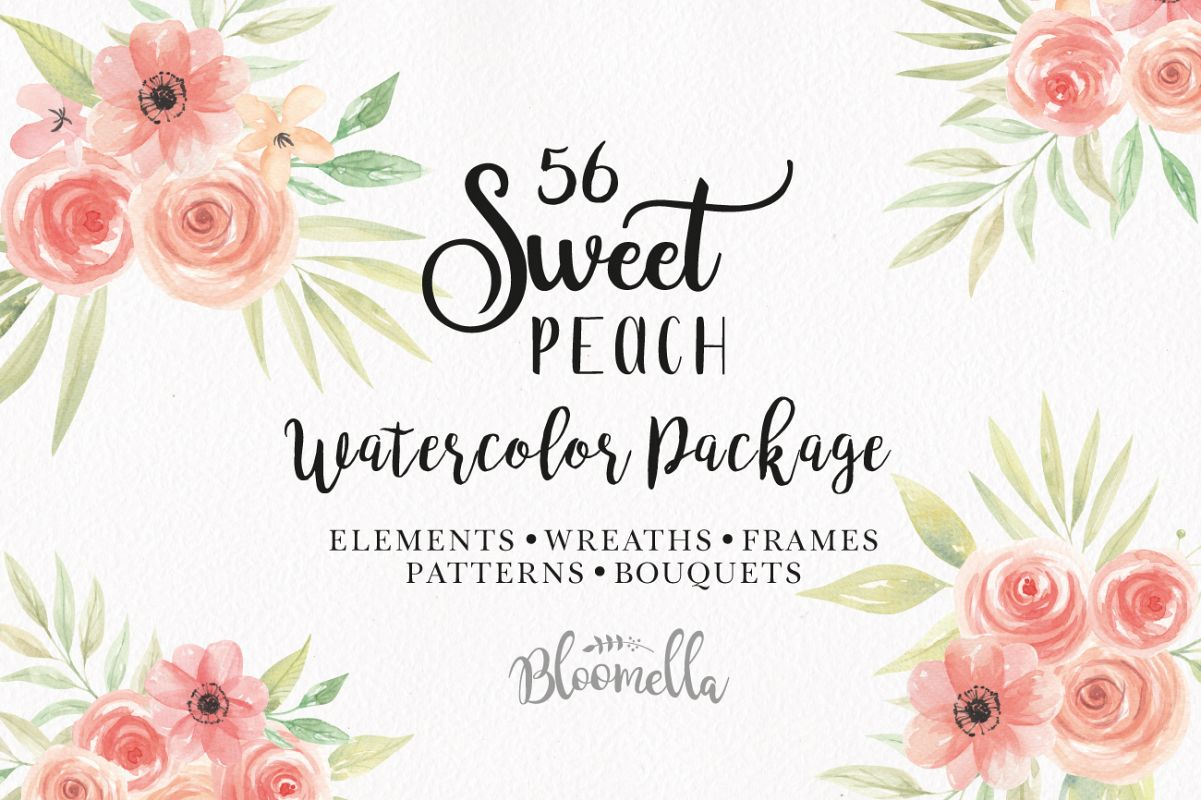 Sweet Peach Flower Floral Watercolor Fr | Design Bundles