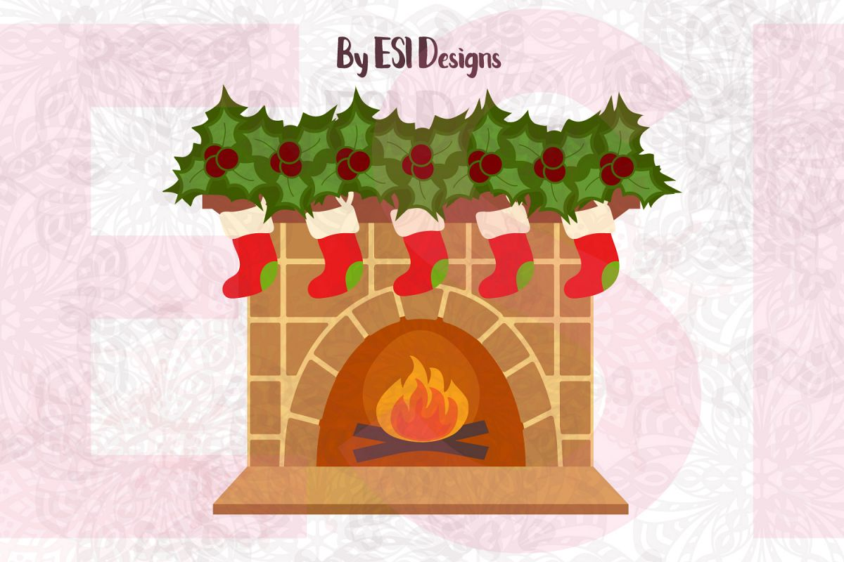 Christmas Fireplace Design - SVG, DXF, EPS & PNG example image