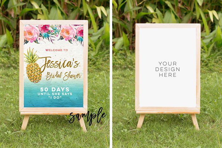 tropical summer mock up, summer mock up frame, summer wedding party frame, digital frame sign, landscape mock up, vertical mock up, PSD example image