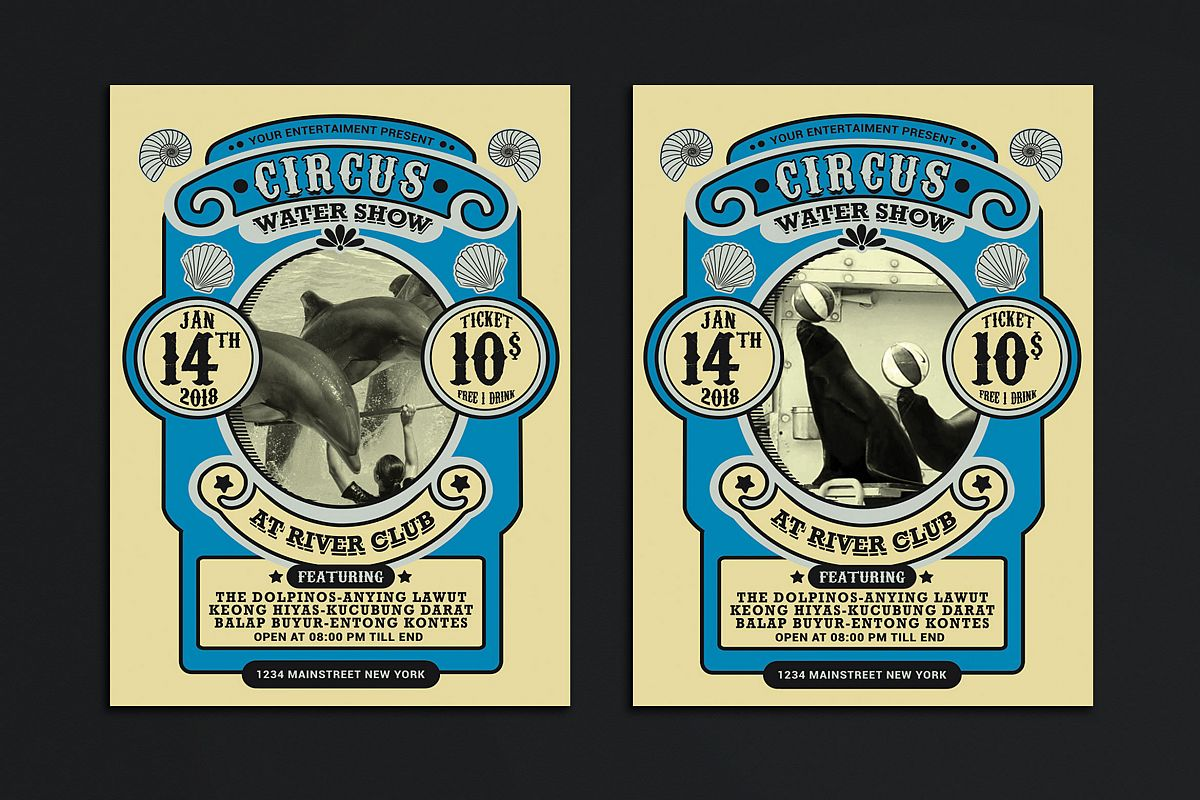 Vintage Marine Circus Carnival Flyer Example Image