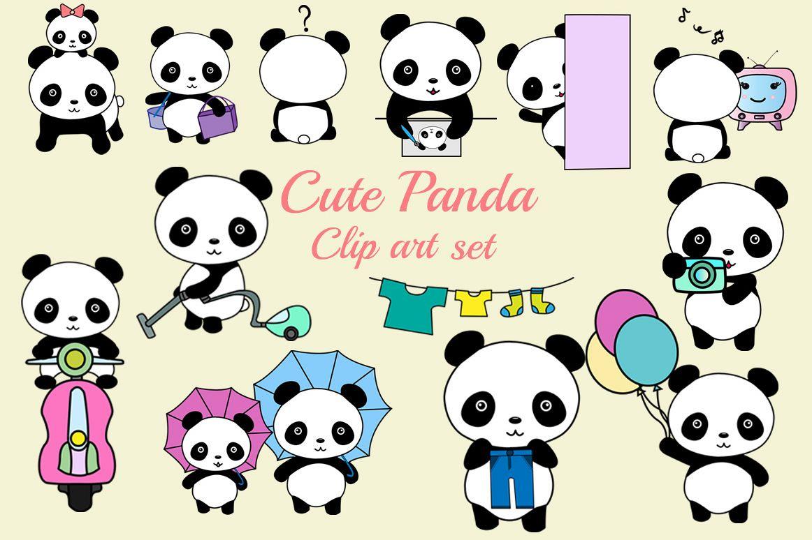 cute panda clipart by prettydesignstudio design bundles rh designbundles net Kawaii Cute Panda cute panda clipart free