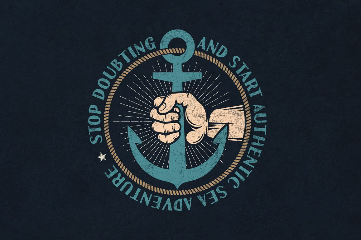 Anchor in hand retro logo example image 2