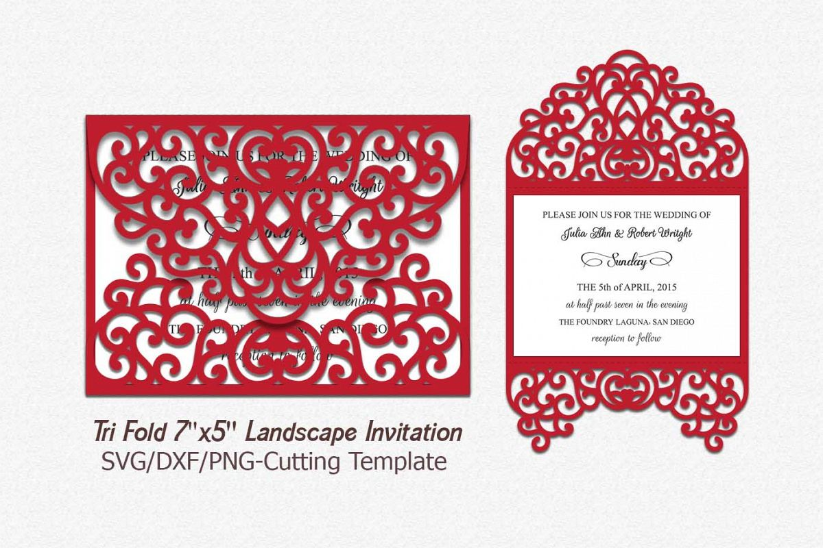 tri fold invitation svg, laser cut wedd | Design Bundles