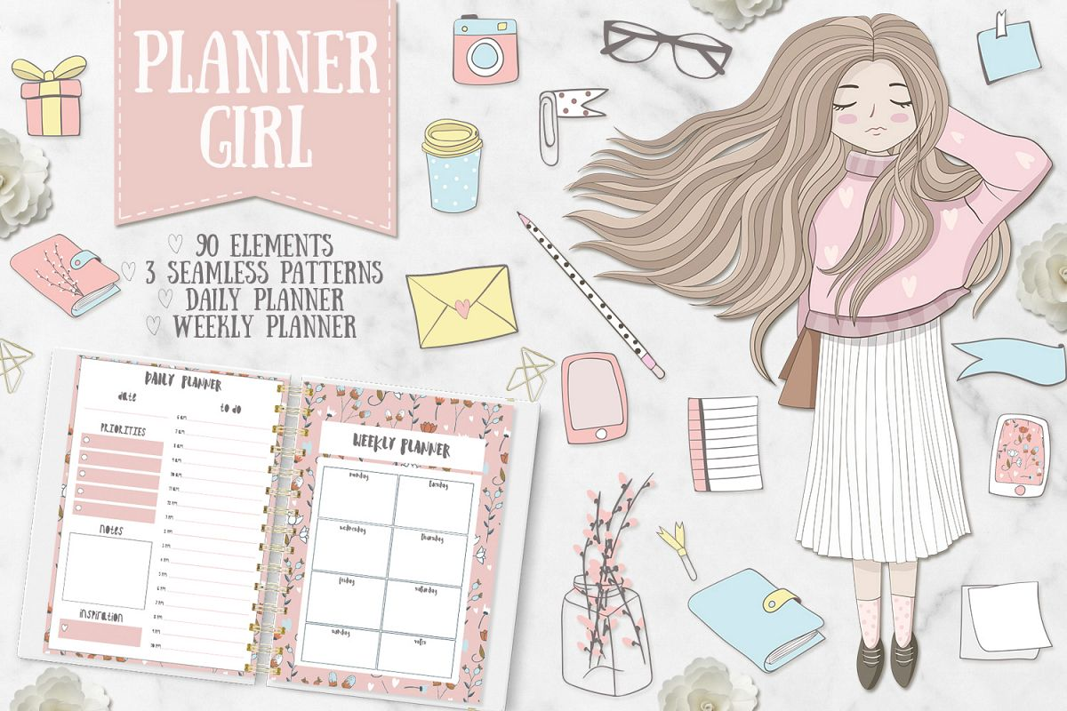 Planner Girl Clipart. Weekly & daily example image