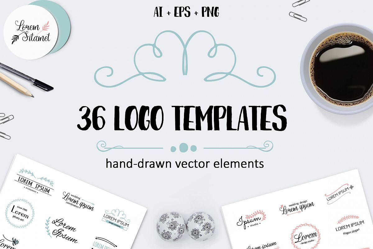 Vector logo templates pack. 36 logos example image