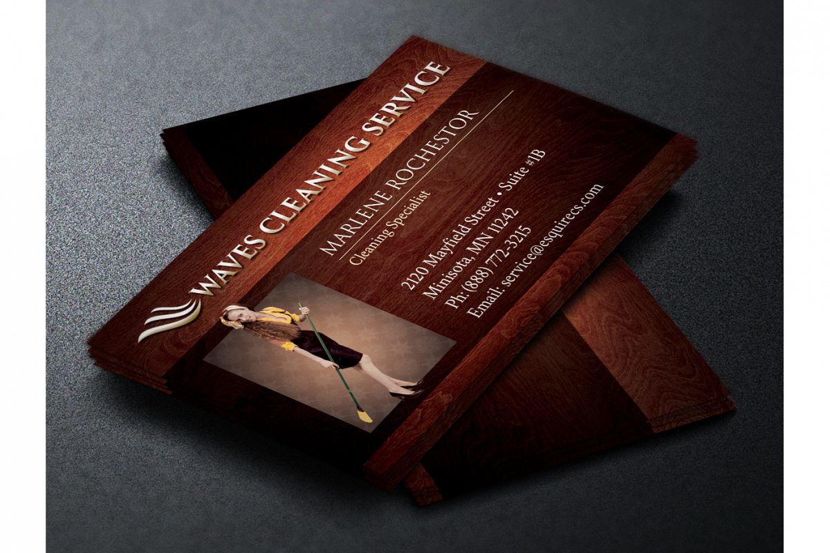 Elegant Cleaning Service Business Card | Design Bundles