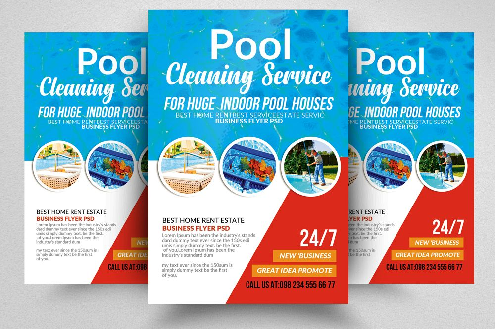 Pool Cleaning Service Flyer Template by Design Bundles