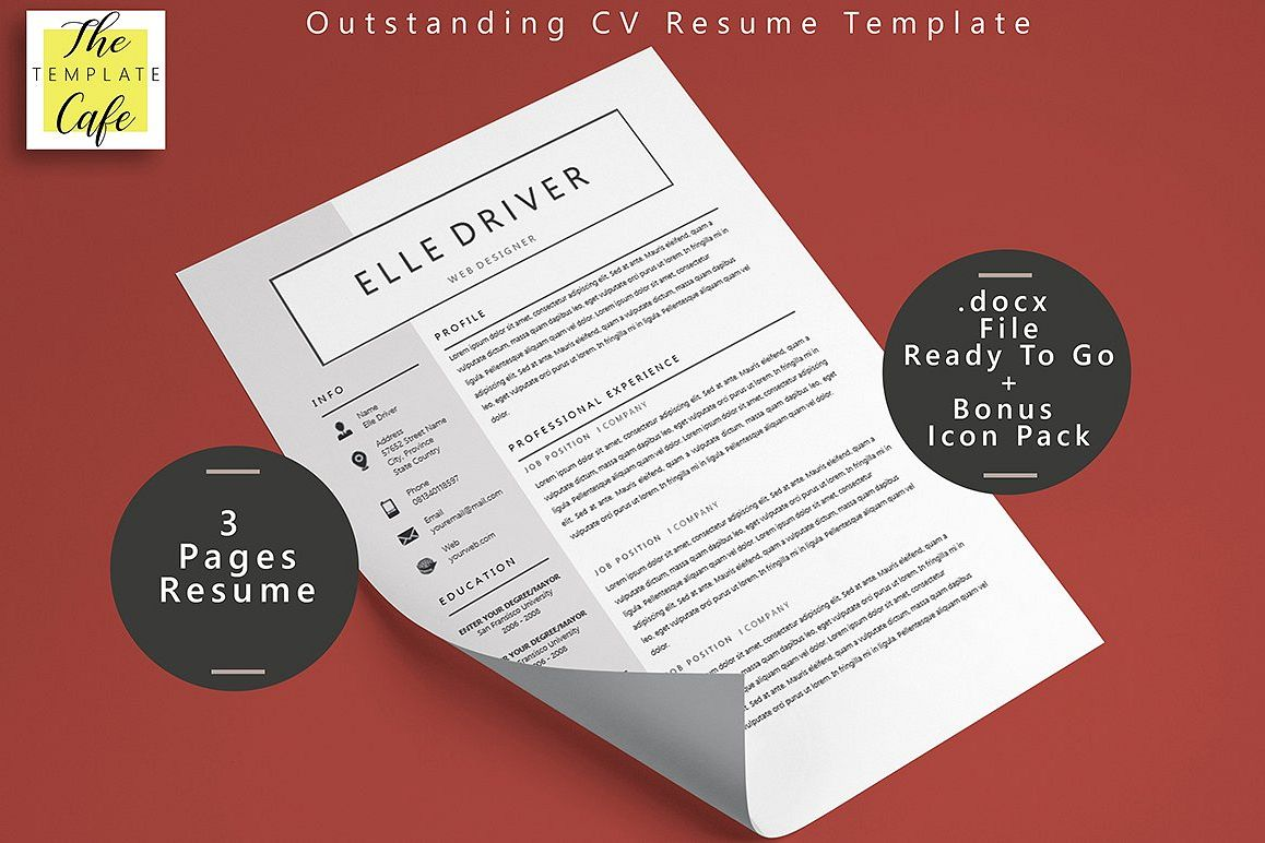 Simple Elegant Ms Word Resume Template  Design Bundles