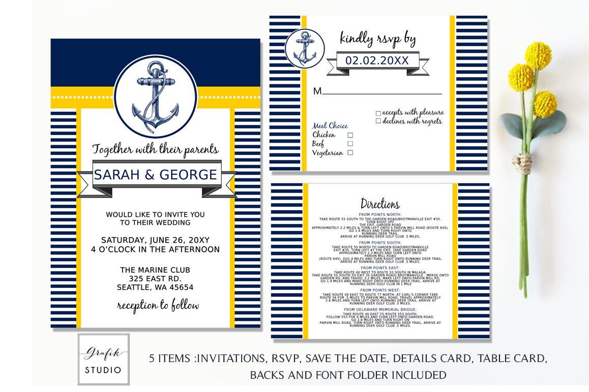 Anchor Navy and Yellow Nautical Wedding | Design Bundles
