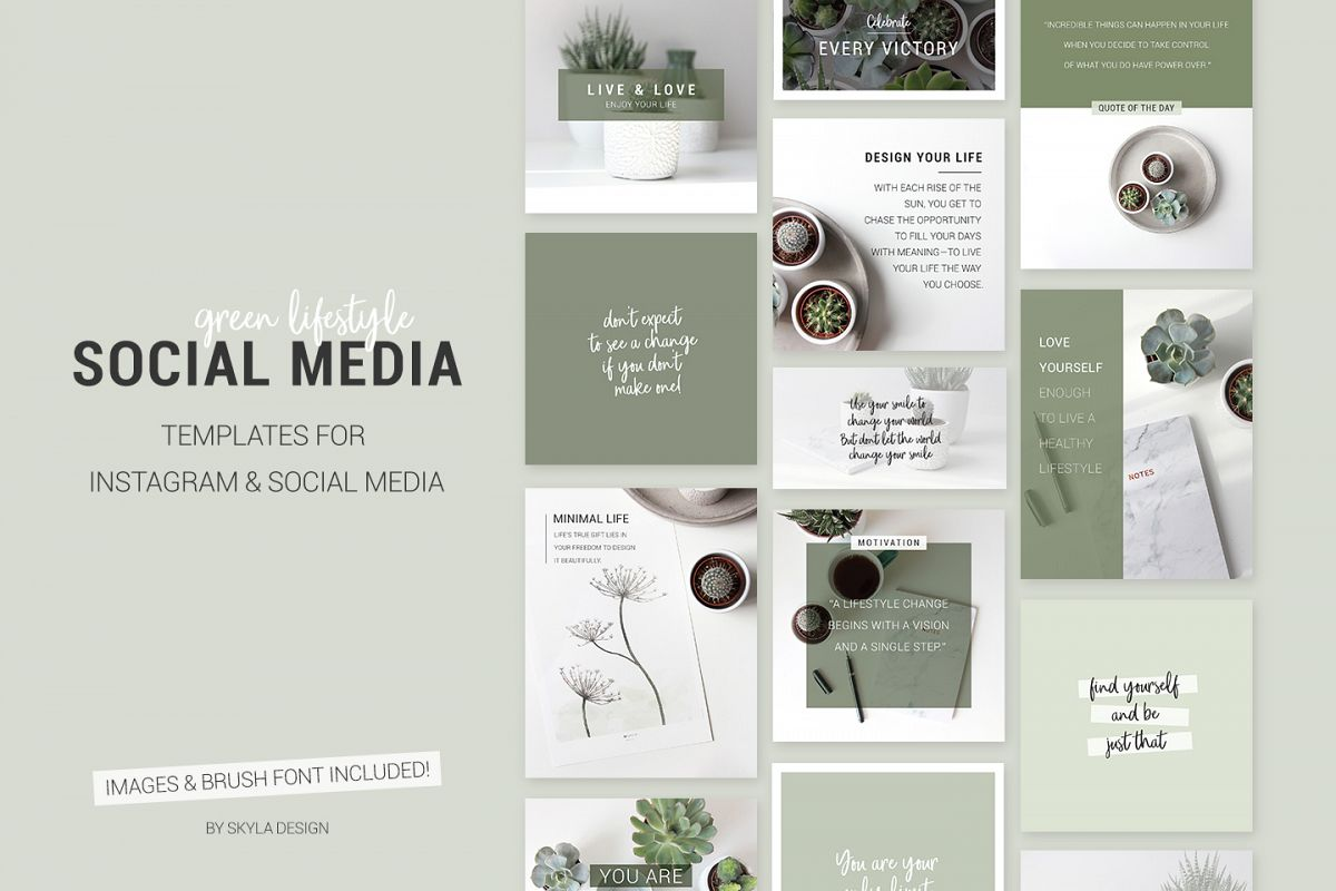 green lifestyle social media templates design bundles. Black Bedroom Furniture Sets. Home Design Ideas