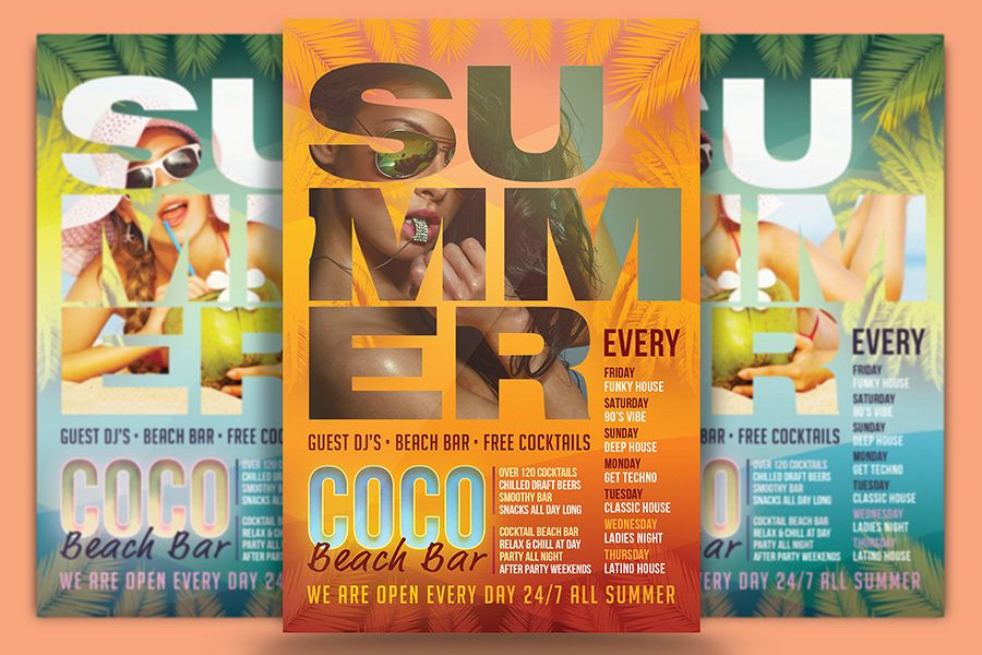Coco Beach Bar Flyer Template By Design Design Bundles