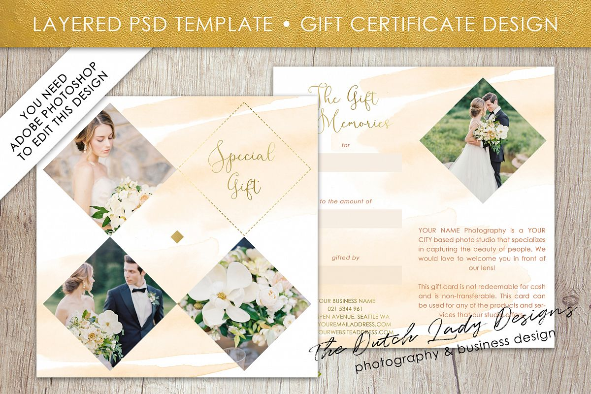 Photo Gift Card Template For Adobe Photoshop   Layered PSD Template    Design #41 Example