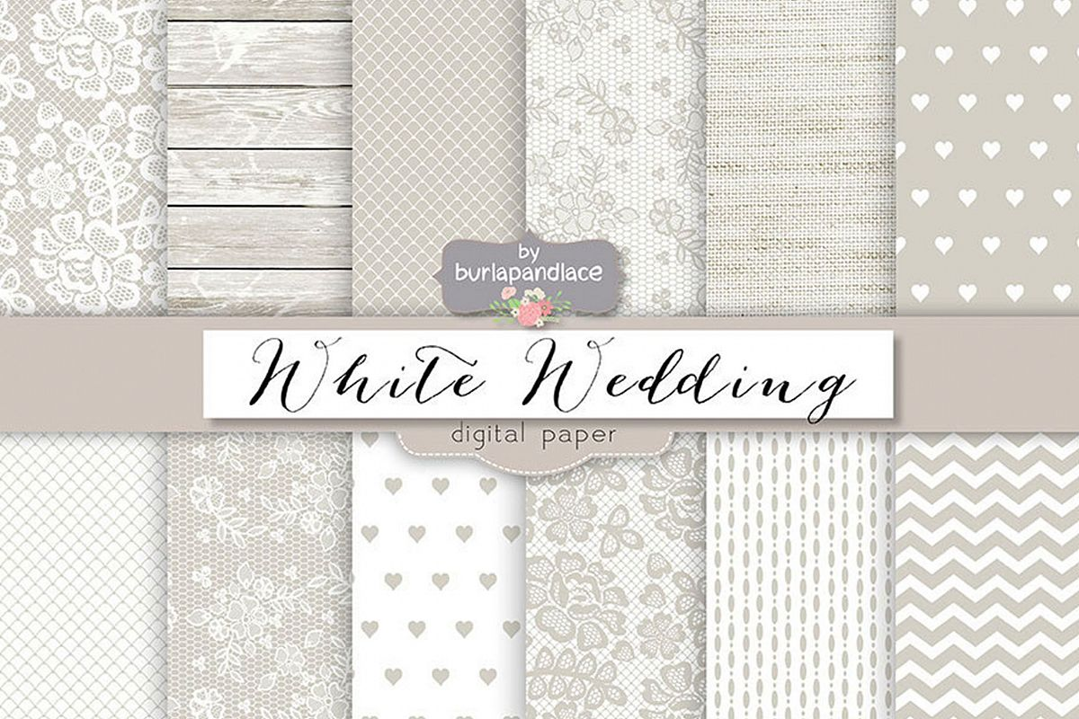 White wedding digital paper pack example image
