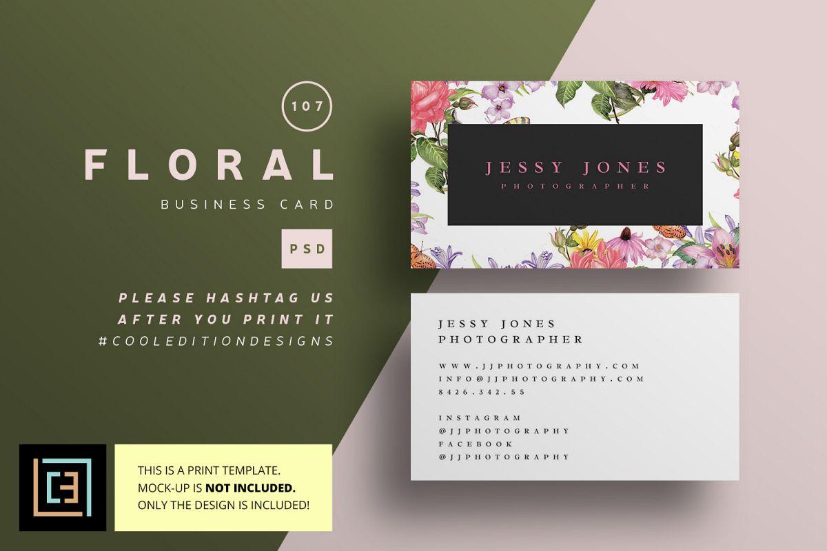 Floral Business Card - BC107 by Cooledi | Design Bundles