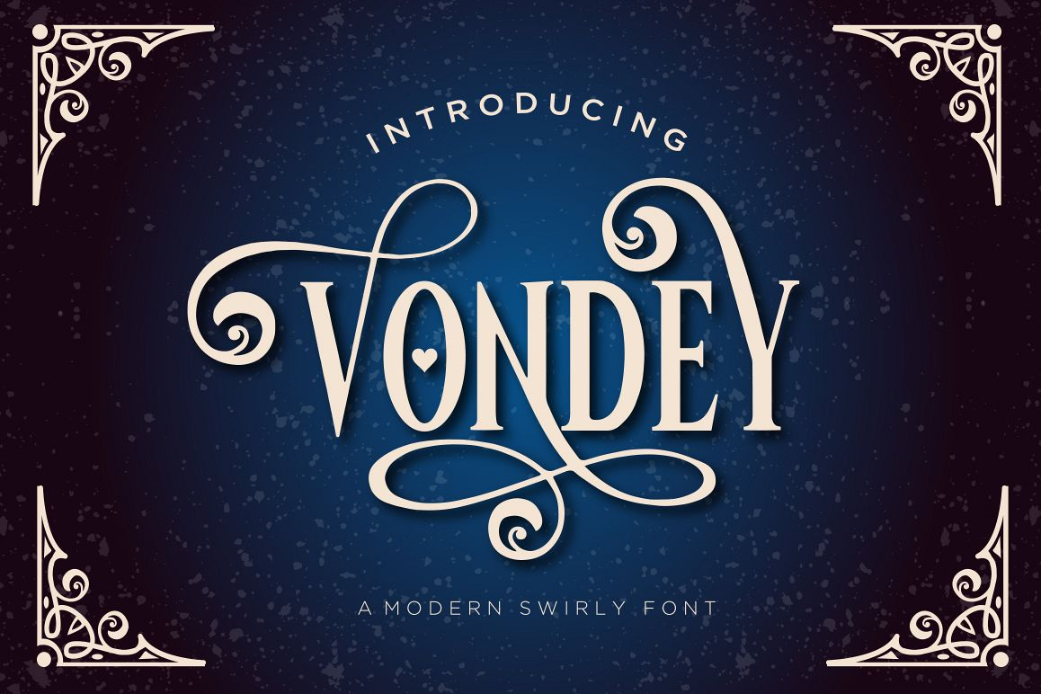 Vondey - Holiday font & ornaments example image