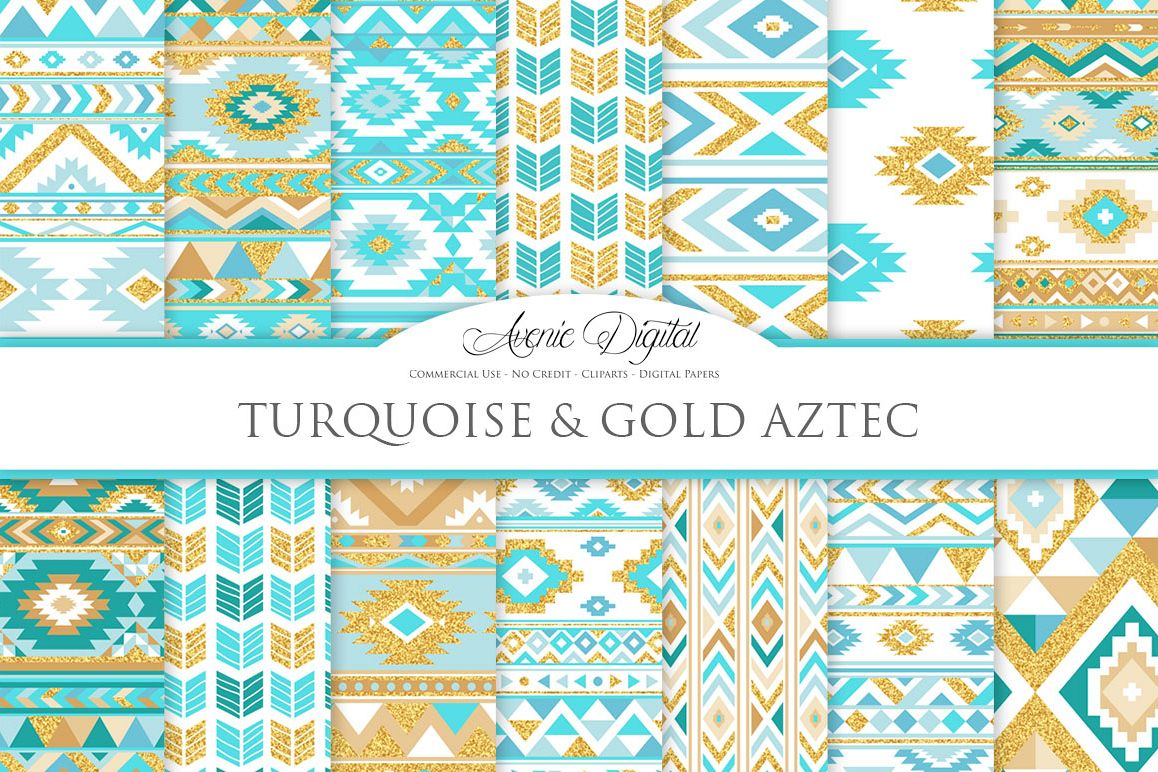 Turquoise and Gold Glitter Boho Seamless Patterns example image