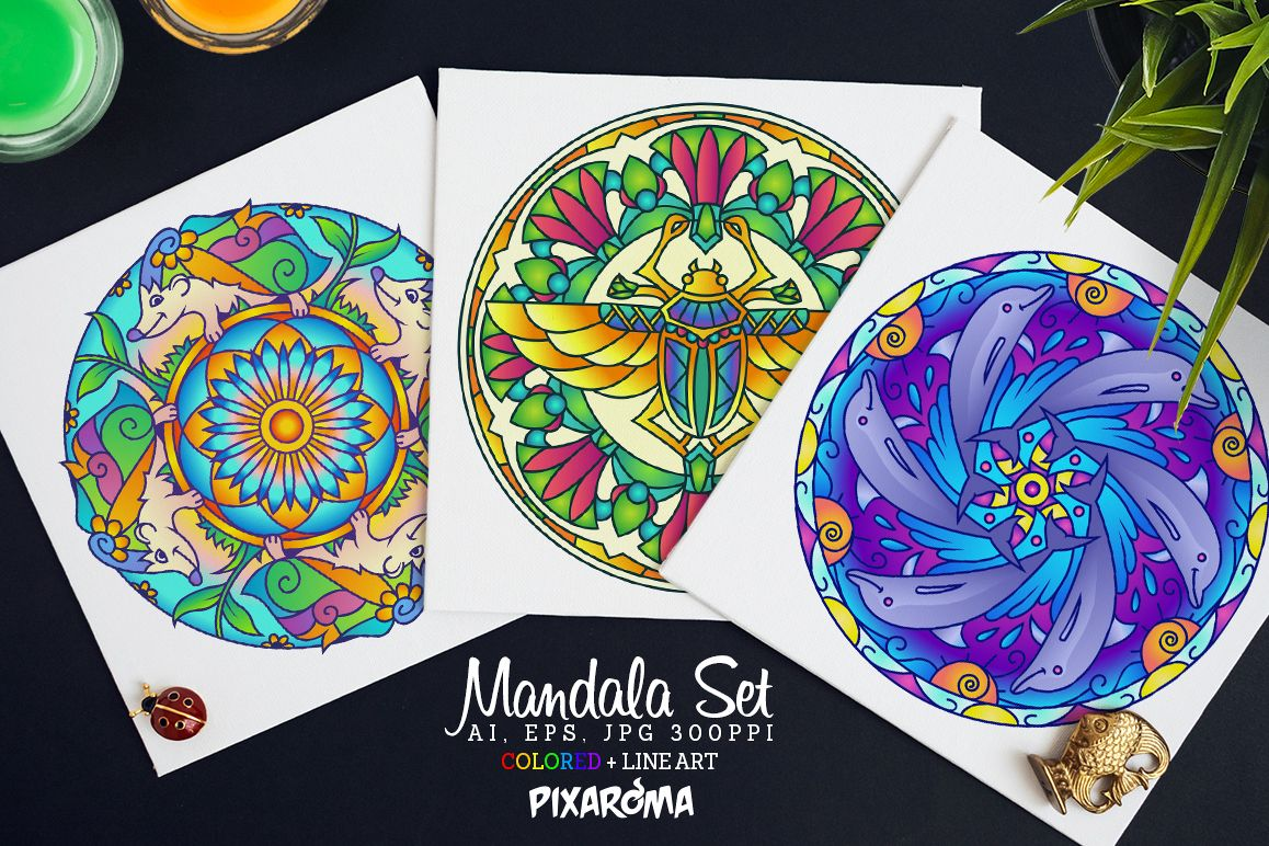 Vector Animals Mandala Set example image