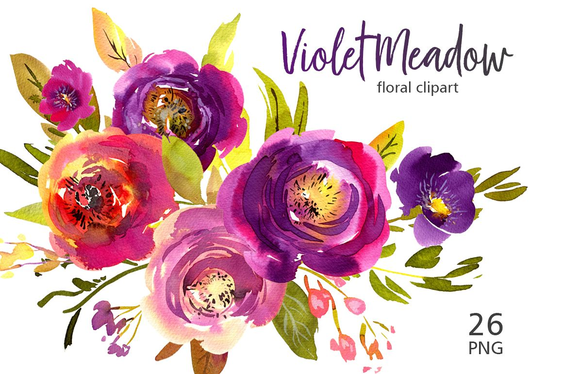 Violet Meadow Watercolor Flowers Png By Design Bundles