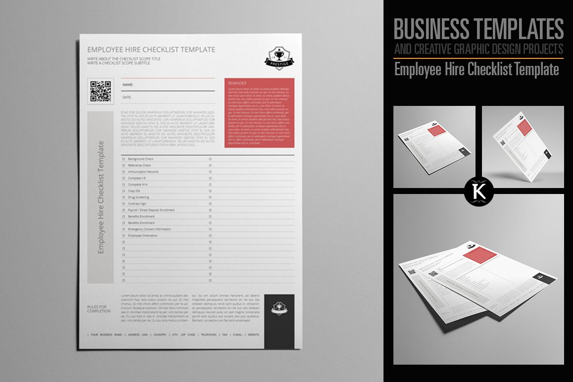 Employee Hire Checklist Template by Keb | Design Bundles