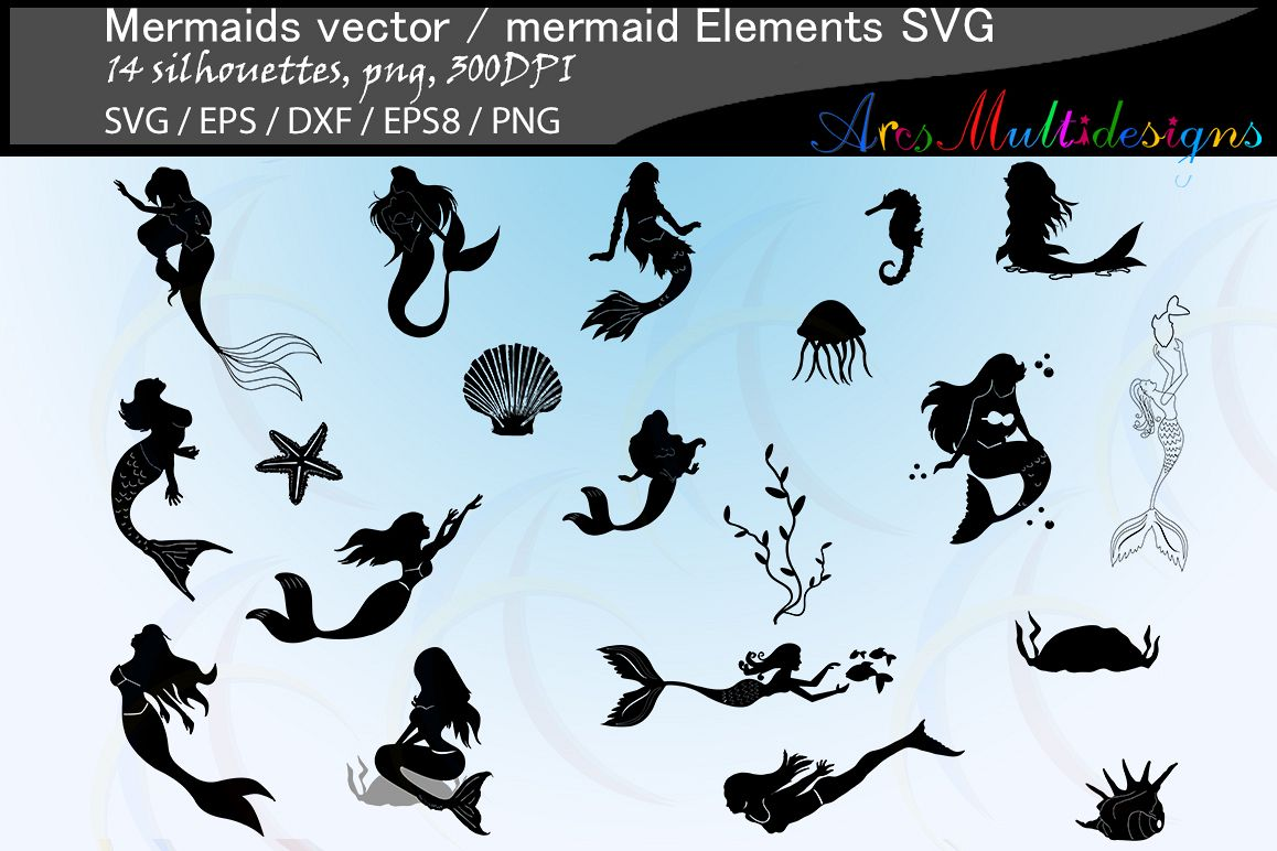 Mermaid silhouette / water girls / High Quality / beauty girl silhouette / mermaid vector / mermaid vector / EPS / PNG / SVG / DXf / mermaid elements example image