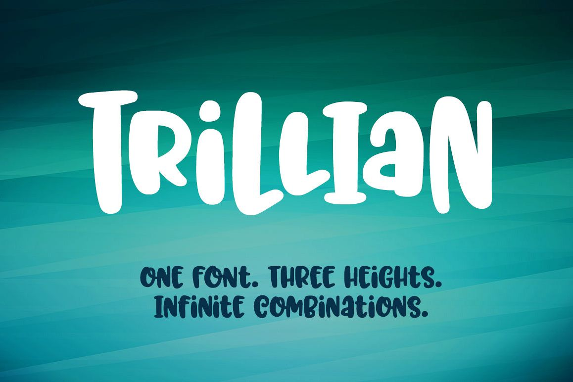 Trillian: 1 fun font, 3 heights! example image