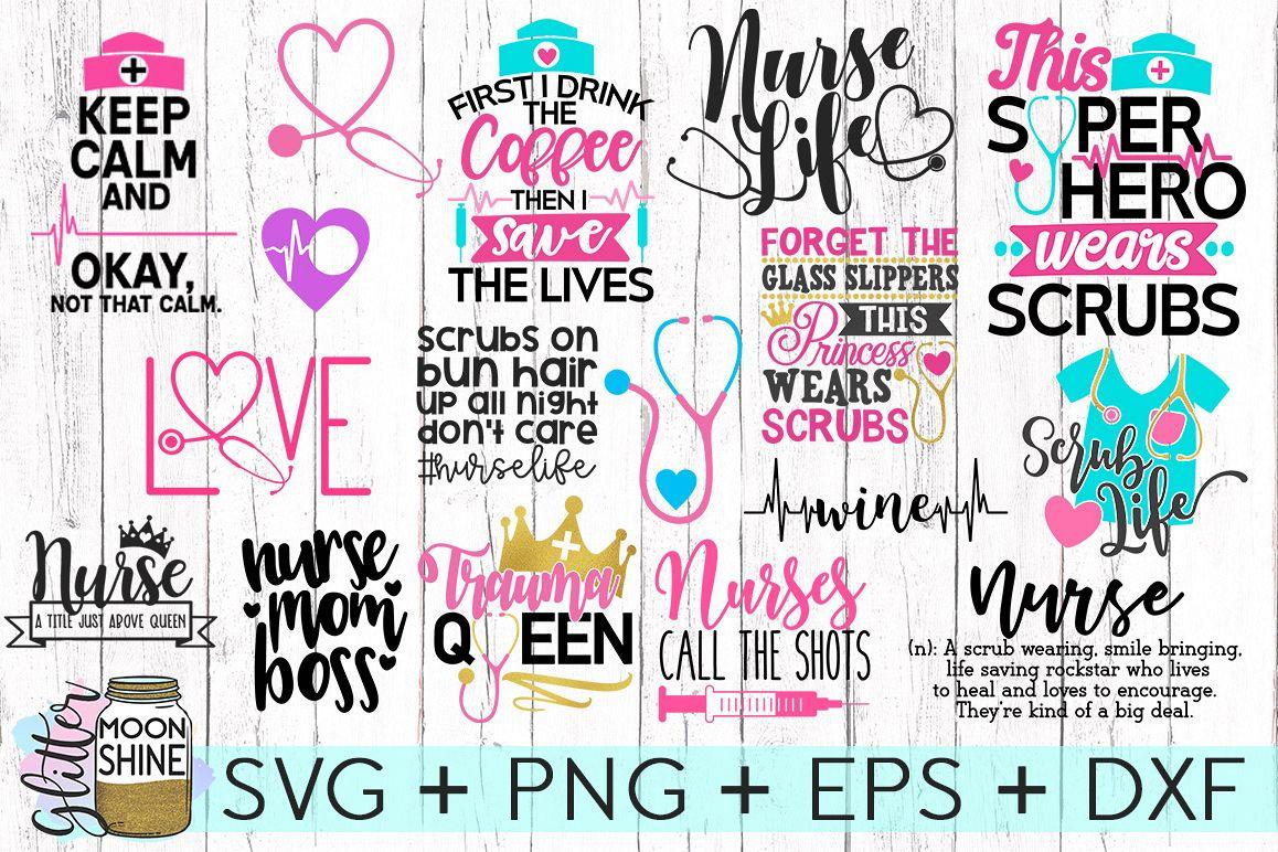 Nurse Bundle SVG DXF PNG EPS Cutting Files example image