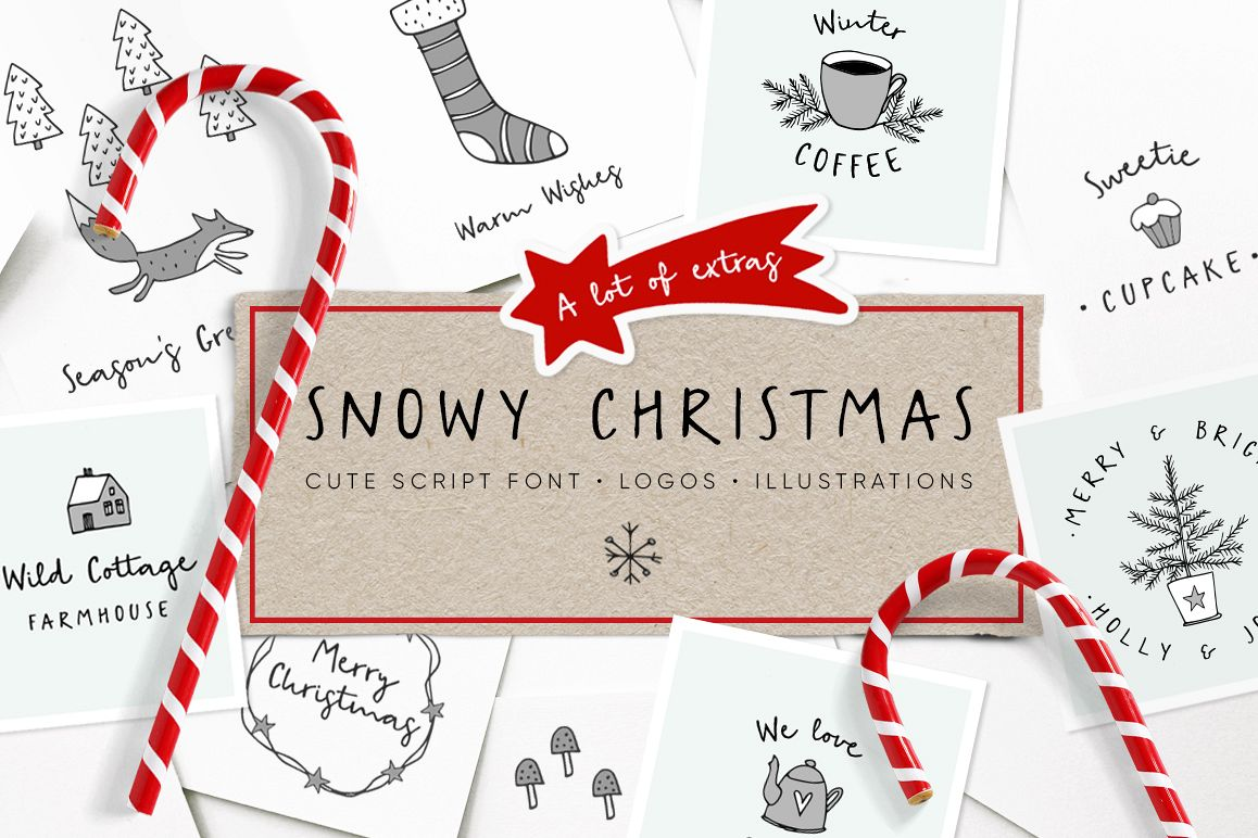 Snowy Christmas script font & logos example image