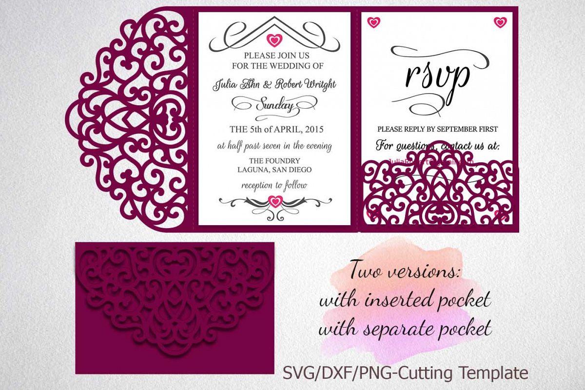 Tri Fold Wedding Invitation Pocket Enve Design Bundles