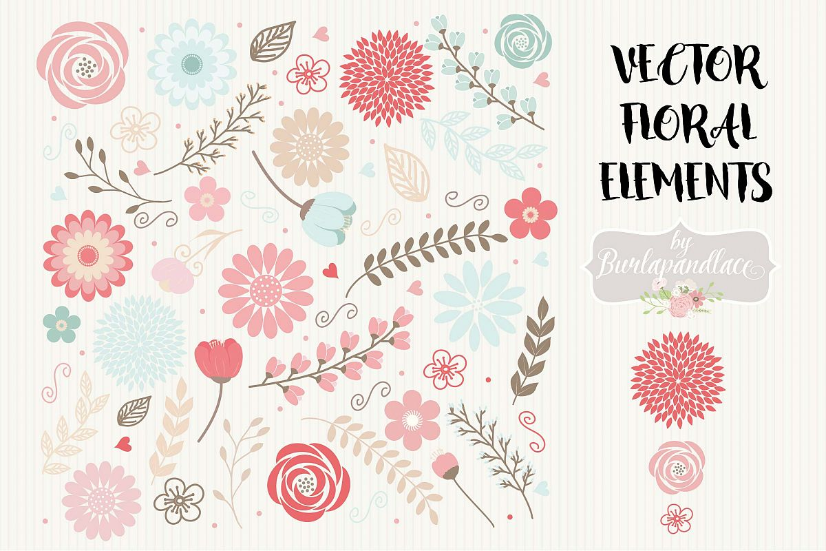 Vector floral elements clipart example image