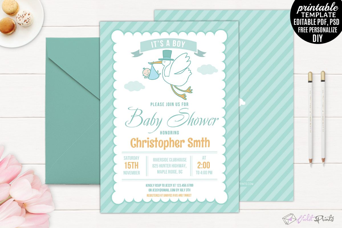 Mint and orange stork baby shower invit design bundles mint and orange stork baby shower invitation template example image filmwisefo