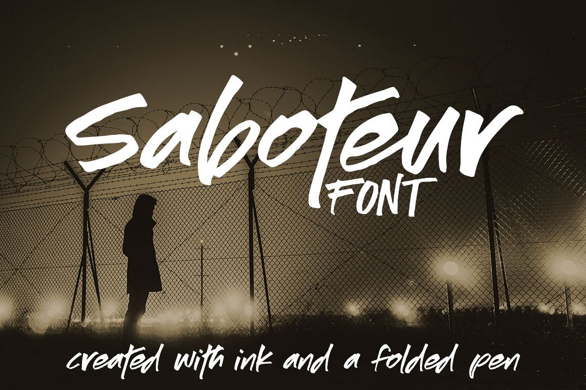 Saboteur: a moody, inky font example image