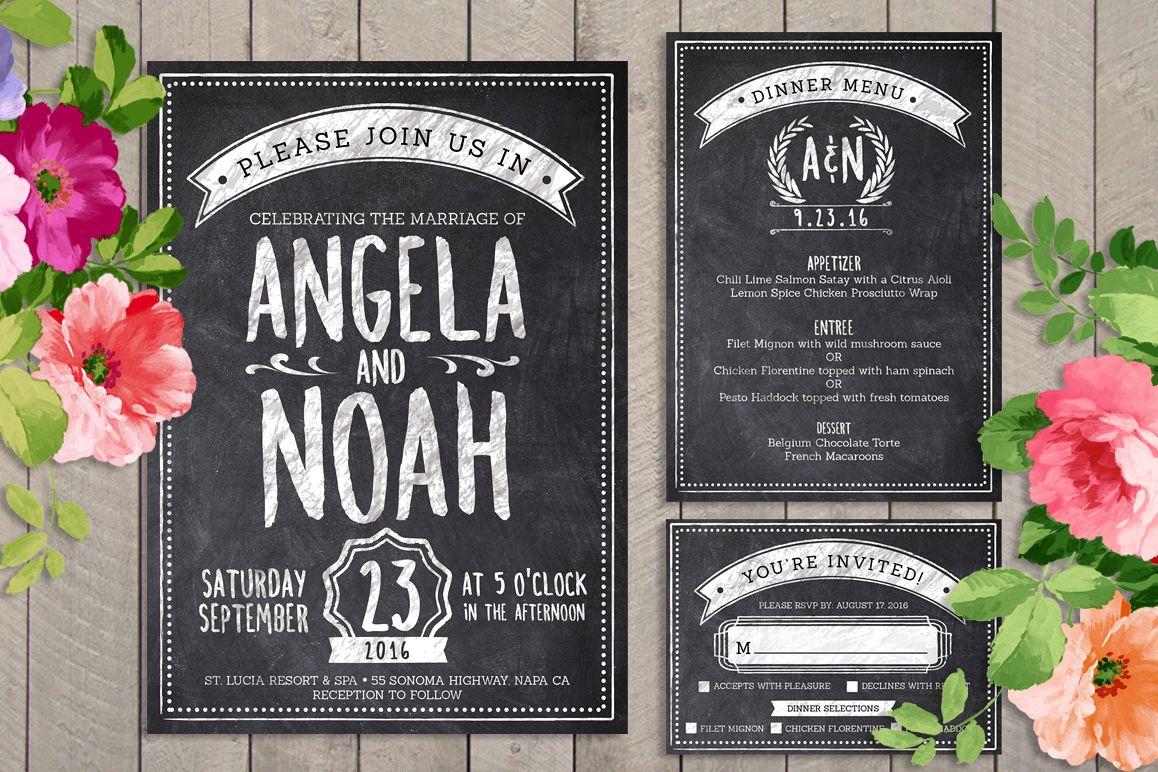 Chalk Wedding Invite Bundle example image
