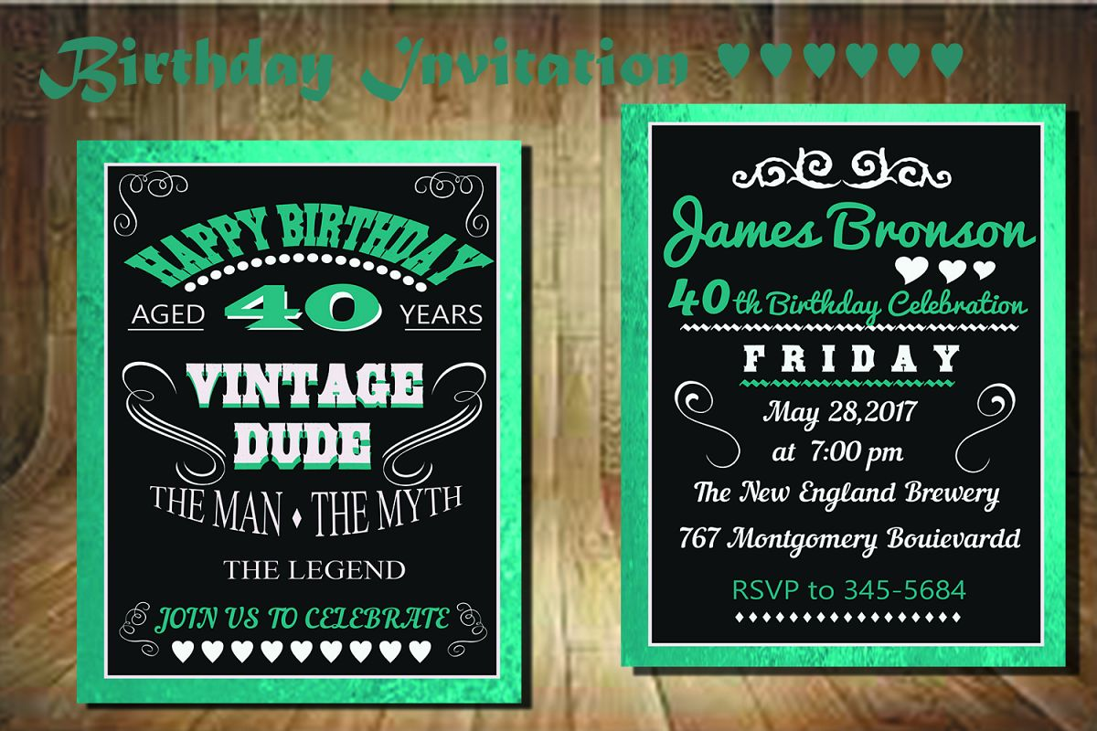 Birthday invitation card front back by design bundles birthday invitation card front back example image stopboris Gallery