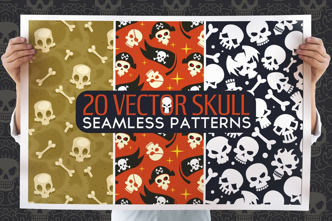 20 Skull Seamless Vector Patterns example image