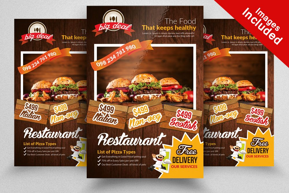 Restaurant Menu Flyer Template By Desig  Design Bundles