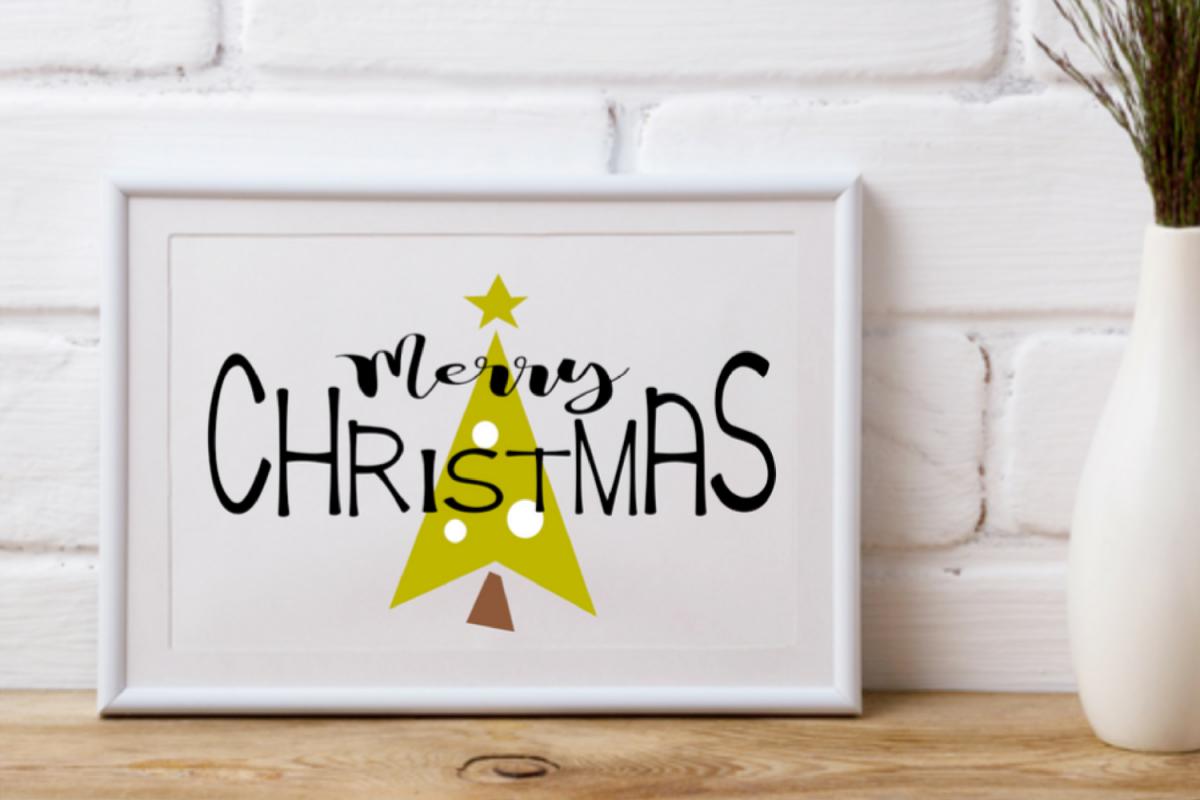 Merry Christmas Wall Art Print Printable Christmas Tree Art Example Image