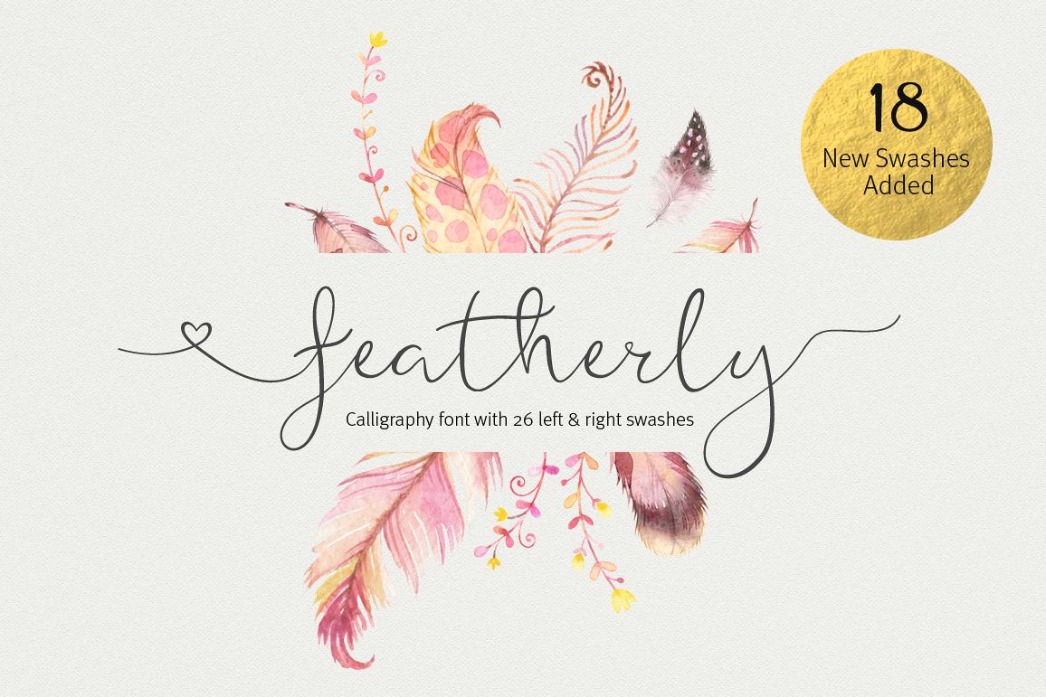 Featherly Font - wedding font example image
