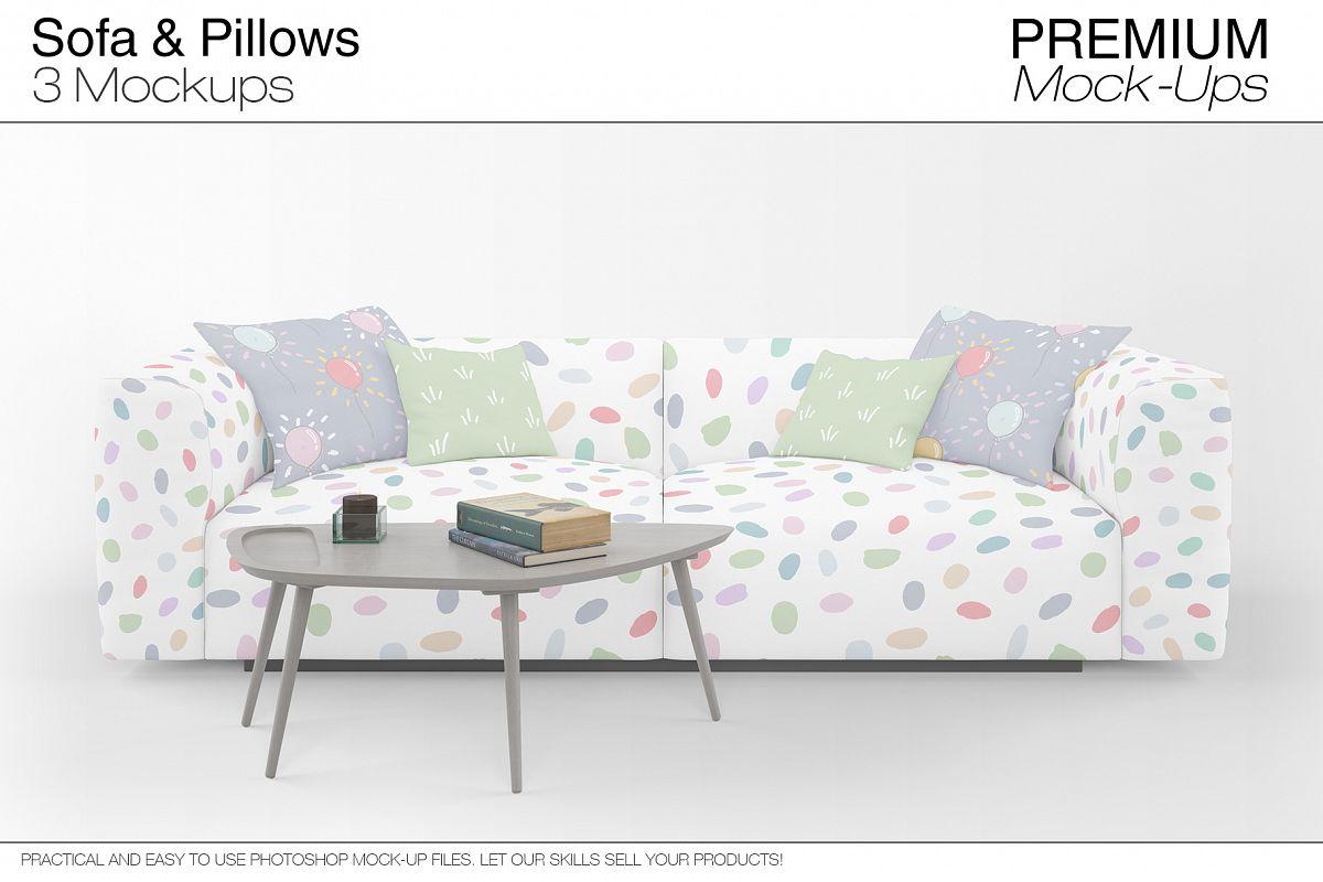 Sofa & Pillows Mockup Pack by mockups | Design Bundles
